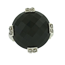 Judith Ripka Sterling Silver Ring W/ Black Onyx Stone