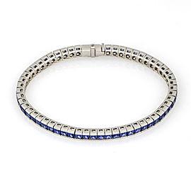 11.50 carat Princess Blue Sapphire Channel Set Tennis Bracelet in Platinum