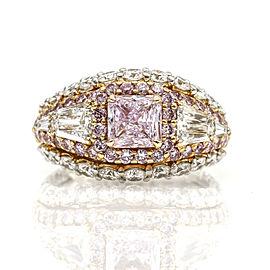 1.01 ct GIA Certified Fancy Pink Diamond Engagement Ring Platinum 18k Gold