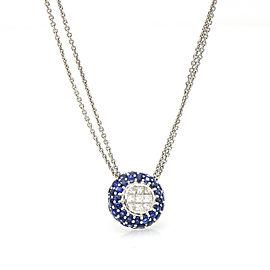 Le Vian Diamond Blue Sapphire Double Chain Necklace in 18k White Gold