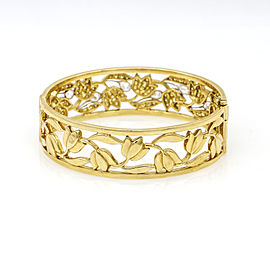 Women's Fancy Yellow Diamond Floral Openwork Hinged Bangle Bracelet 18k Gold