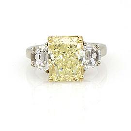 5.72 ct GIA Certified Rectangular Fancy Yellow Diamond Engagement Ring