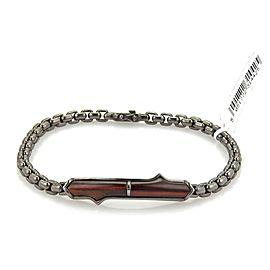 """Stephen Webster THORN Sterling Silver Black Rhodium Bull's Eye Bar Bracelet 8.5"""""""