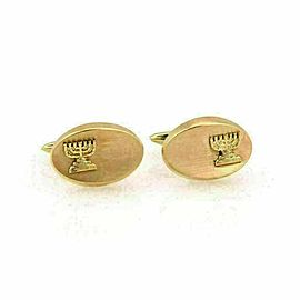 Estate 14k Yellow Gold Oval Shaped Judaica Menora Cufflinks