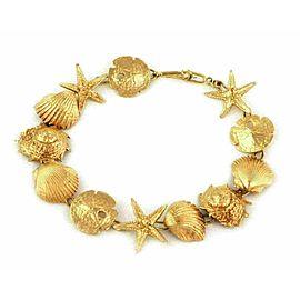 Vintage 14k Yellow Gold Sea Shell Charm Link Bracelet