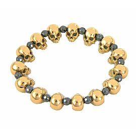 EyeFunny 18k Gold Skull Charms & Hematite Bead on Stretch Bracelet