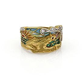 Masriera Diamond Ruby Enamel Sunset Set Frog 18k Gold Band Ring w/Booklet