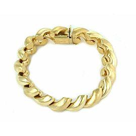 "San Marco Italy 14k Yellow Gold Macaroni Link Bracelet 7.5"""