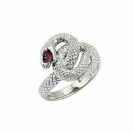 Ruby 18k White Gold Textured Coiled Snake Ring