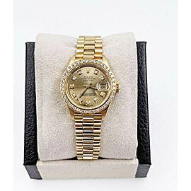 Rolex Ladies President 69178 Champagne Diamond Dial 18K Yellow Gold