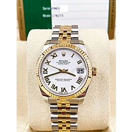 Rolex Datejust Midsize 31mm 178273 White Dial 18K Gold and Steel 2019