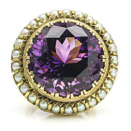 Mid-Century Amethyst Pearl Statement Ring in 14k Yellow Gold
