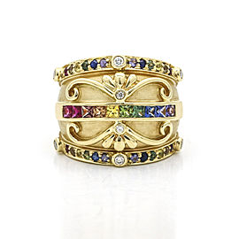 Signed Rainbow Sapphire Diamond Dome Band Ring in 18k Yellow Gold