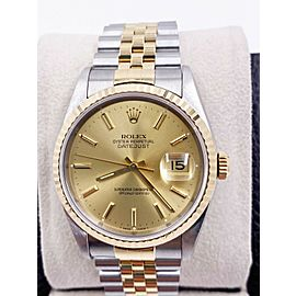 Rolex Datejust 16233 Champagne Dial 18K Yellow Gold Stainless Box Booklets