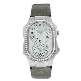 Philip Stein Teslar 2 Time Zone Diamond Stainless Steel Quartz 32MM Watch