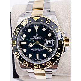 Rolex GMT Master II 116713 Black Dial 18K Yellow Gold Stainless Steel