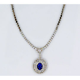 18K White Gold Tanzanite, Diamond Necklace
