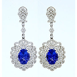 18K White Gold Tanzanite, Diamond Earrings