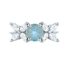 Tiffany & Co. Victoria Diamond and Aquamarine Paltinum Ring