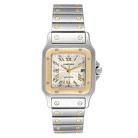 Cartier Santos Galbee Steel Yellow Gold Guilloche Dial Watch W20058C4