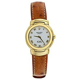 Rolex Cellini 18K Yellow Gold White Dial Brown Ostrich Strap Ladies Watch 6621