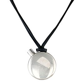 Hermes Sterling Silver Perfume Bottle Pendant with Black Suede Cord