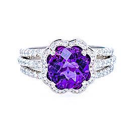 Jack Kelege KPR 536 Platinum Amethyst, Diamonds Ring