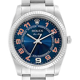 Rolex Air King Steel 18K White Gold Blue Dial Watch 114234 Box