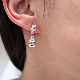 18K White Gold Emerald, Diamond Earrings