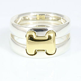 HERMES 18K Yellow Gold Silver 925 Olympe H Logo Ring CHAT-67