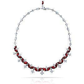 David Gross Platinum Ruby Necklace