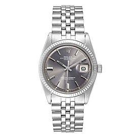 Rolex Datejust Steel White Gold Grey Dial Vintage Mens Watch 1601