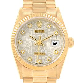 Rolex President Datejust 31 Midsize Gold Diamond Watch 68278