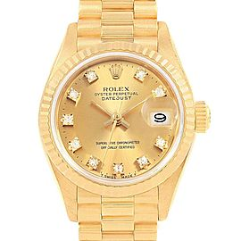 Rolex President Datejust Diamond Dial Yellow Gold Ladies Watch 69178