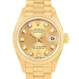 Rolex President Datejust Diamond Dial Yellow Gold Ladies Watch 69178