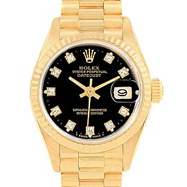 Rolex President Black Diamond Dial Yellow Gold Ladies Watch 69178