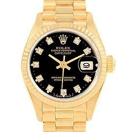 Rolex President Black Diamond Dial Yellow Gold Ladies Watch 69178