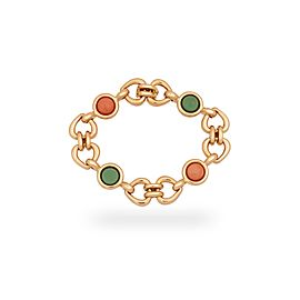 Van Cleef & Arpels 18K Yellow Gold Coral & Green Jade Heart & Love Bracelet