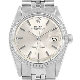Rolex Datejust Silver Dial Fluted Bezel Vintage Mens Watch 1603