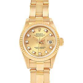 Rolex President Datejust 26mm Diamond Dial Yellow Gold Ladies Watch 69178