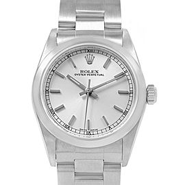 Rolex Midsize Silver Dial Smooth Bezel Steel Ladies Watch 77080