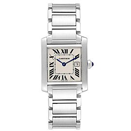 Cartier Tank Francaise Midsize 25mm Silver Dial Ladies Watch W51011Q3