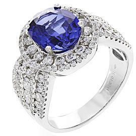 18K White Gold Diamond, Sapphire Ring