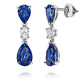 David Gross Platinum Sapphire Earrings