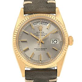 Rolex President Day-Date Yellow Gold Grey Strap Mens Watch 18038