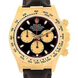 Rolex Daytona Yellow Gold Black Dial Mens Watch 116518 Box Card