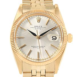Rolex Date 14k Yellow Gold Silver Dial Vintage Mens Watch 1500