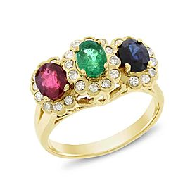 14k Yellow Gold 1.89ct. Sapphire, Emerald, Ruby & Diamond Cocktail Ring Size 7