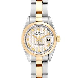 Rolex Datejust Steel Yellow Gold Pyramid Dial Ladies Watch 69163 Box Papers