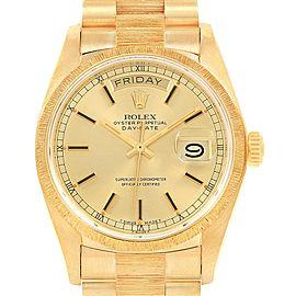 Rolex President Day-Date 36 Yellow Gold Bark Mens Watch 18078 Box